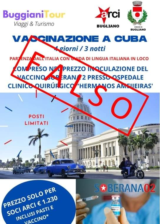 Pubblicità falsa su viaggi a Cuba
